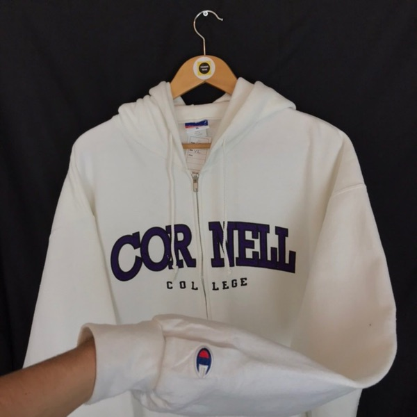 Vintage Champion Usa White Zip Hoodie