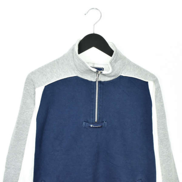 Vintage Champion quarter zip up collar jumper pullover sweatshirt t-shirt top tee in dark blue grey and whote