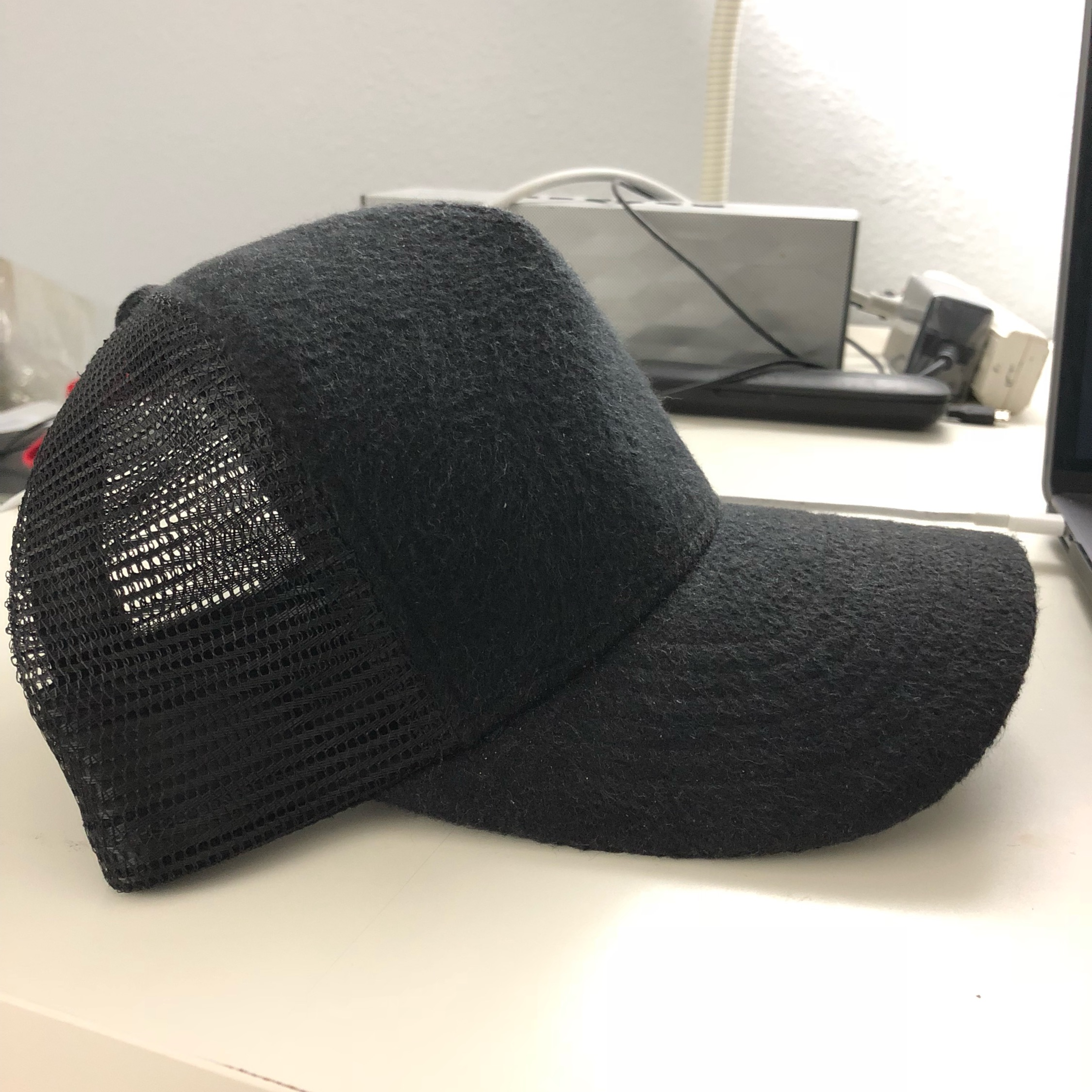 9a568bf4d James Perse Double Face Knit Trucker Hat (Black)