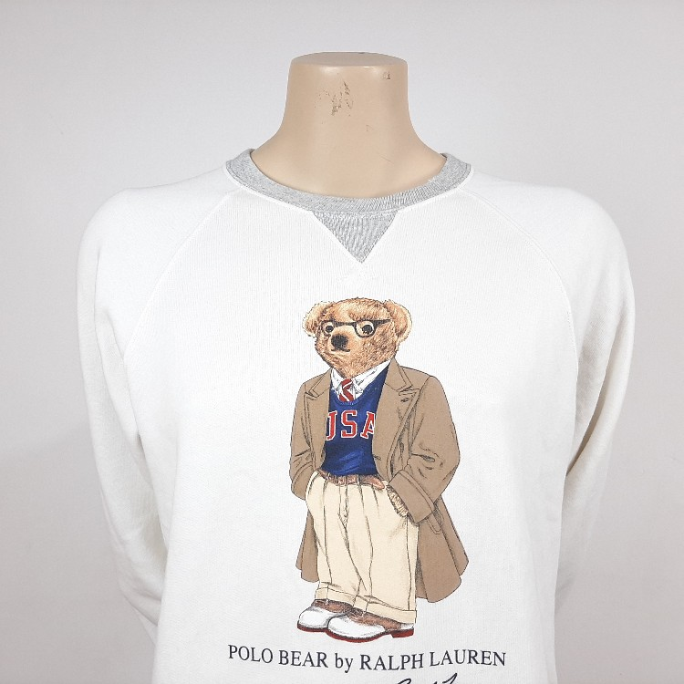 Women's Polo Ralph Lauren Preppy Bear Fleece Sweatshirt White Size S Crew Neck