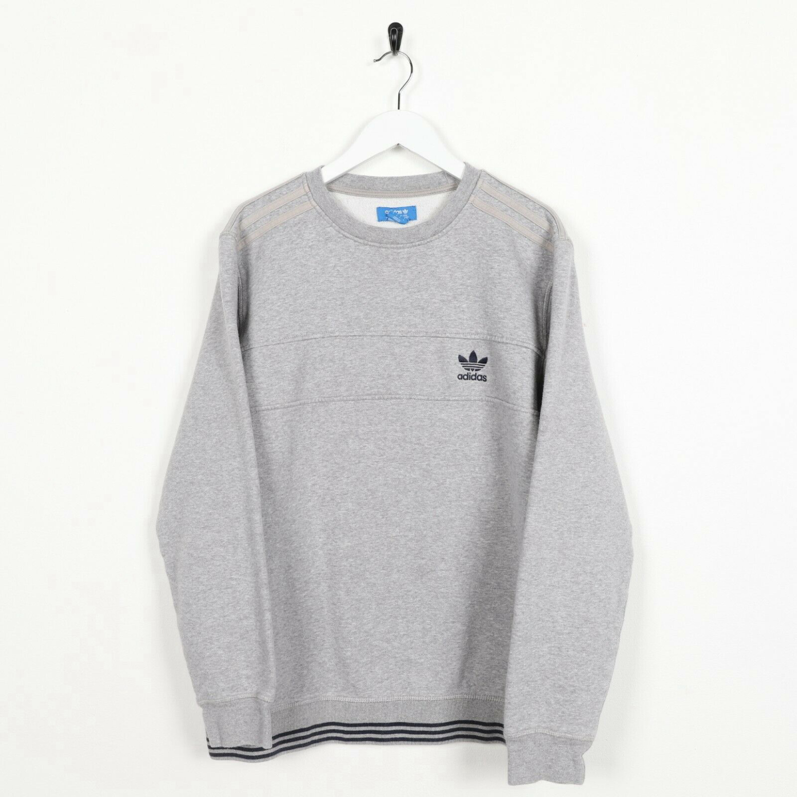 Unisex Vintage ADIDAS ORIGINALS Small Logo Sweatshirt Jumper Grey | Large L