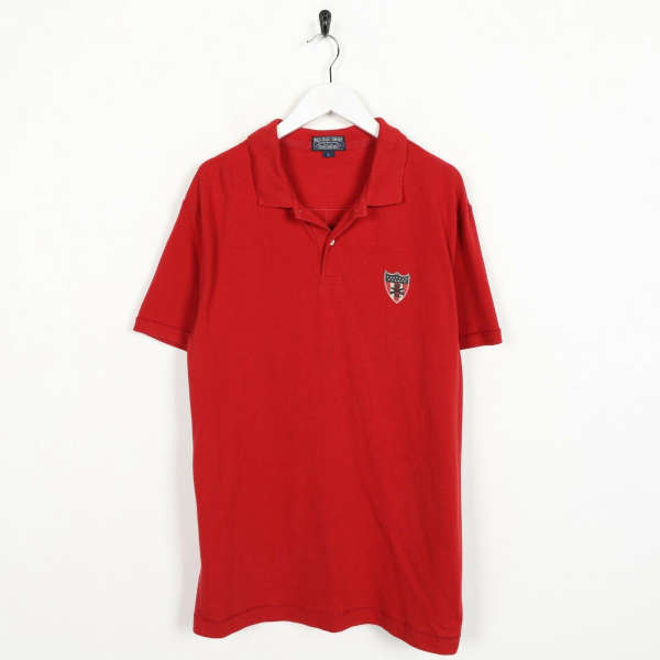 Vintage RALPH LAUREN Polo Jeans Logo Short Sleeve Polo Shirt Top Red | Large L