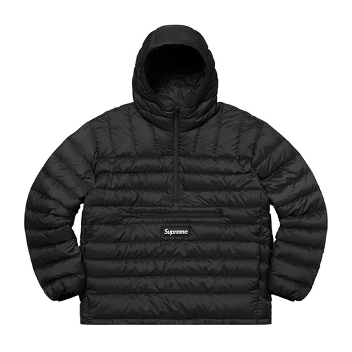 Supreme Micro Down Half Zip Hooded Pullover Black