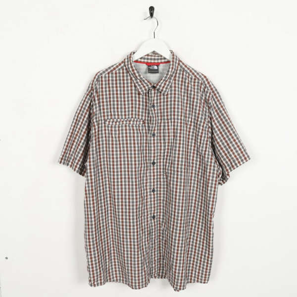 Vintage THE NORTH FACE Small Logo Short Sleeve Check Shirt Beige Red | XL