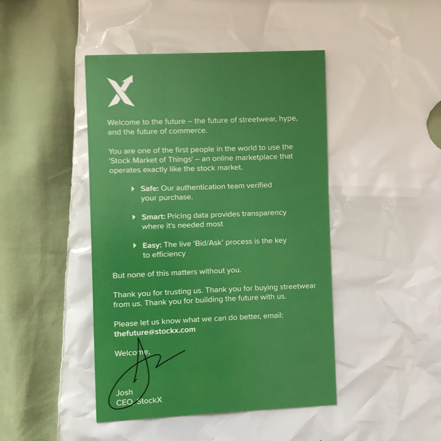 Stockx Bag, Sticker And Authenticity Card