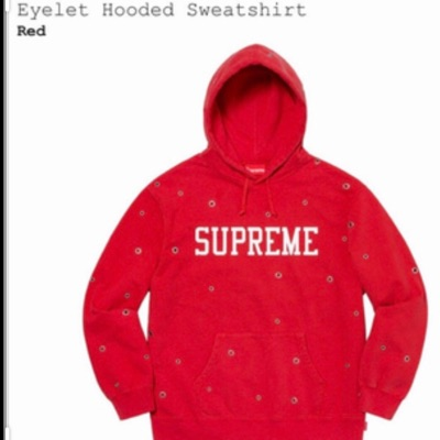 Supreme Eyelet Hooded Sweatshirt Red