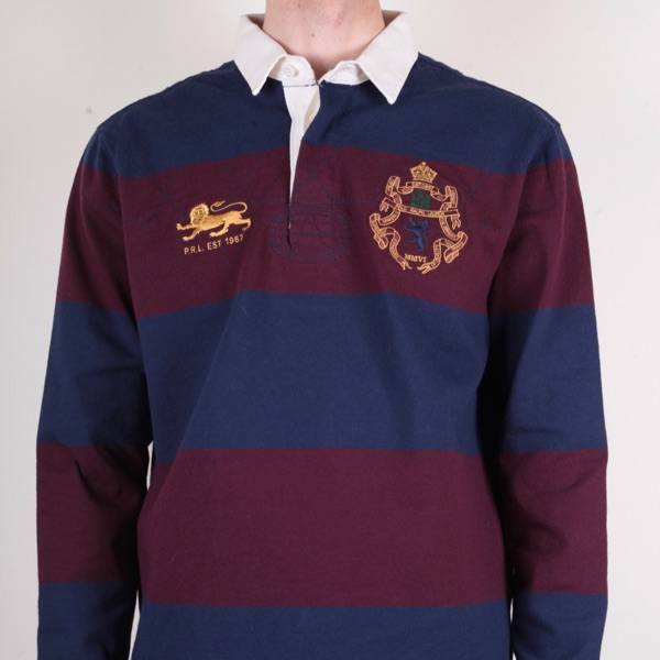 Polo Ralph Lauren Blue Red Striped Rugby Shirt L
