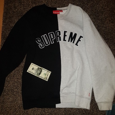 Supreme Split Crewneck Black/White