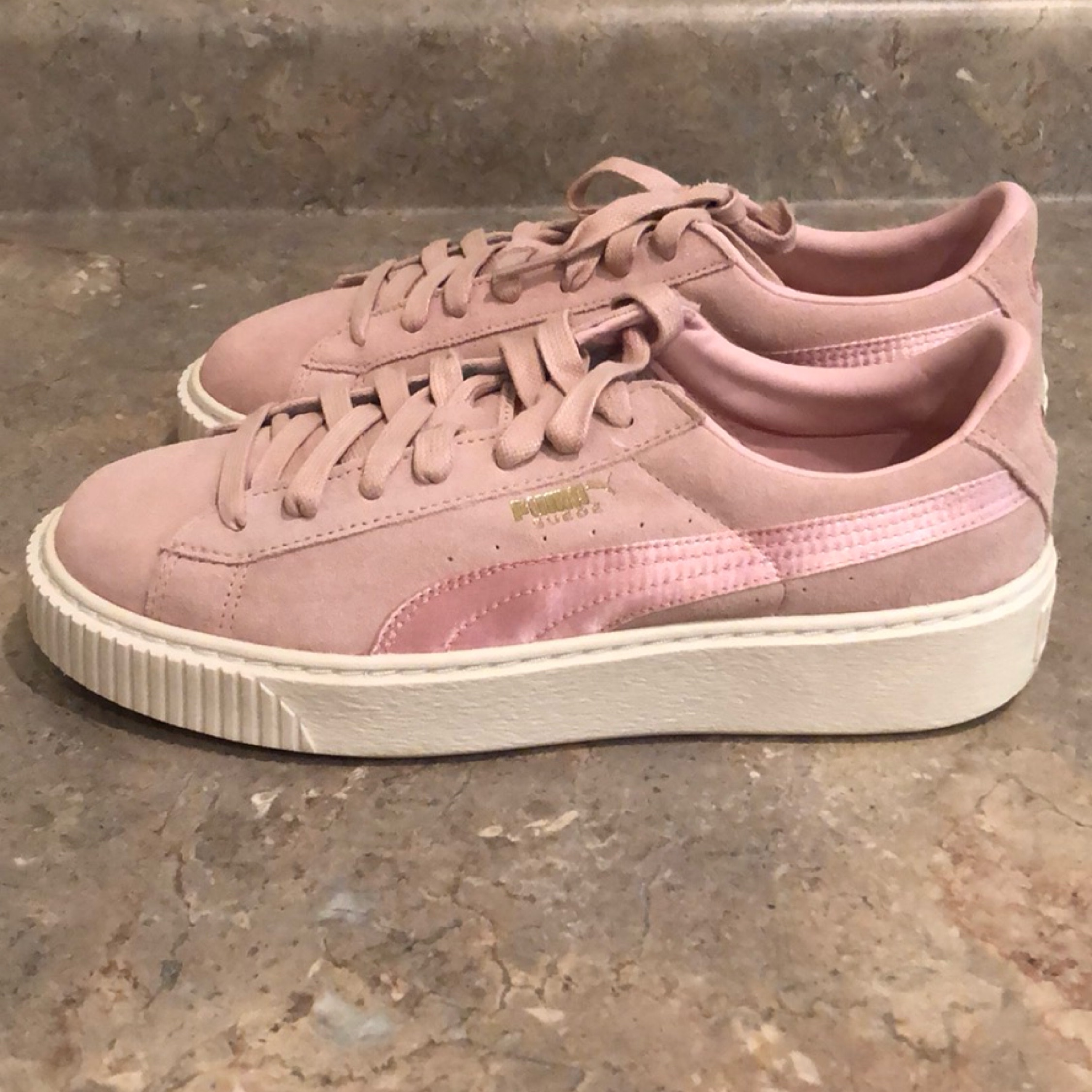 fast color offer clear and distinctive Puma Pink Suede Platform Sneakers