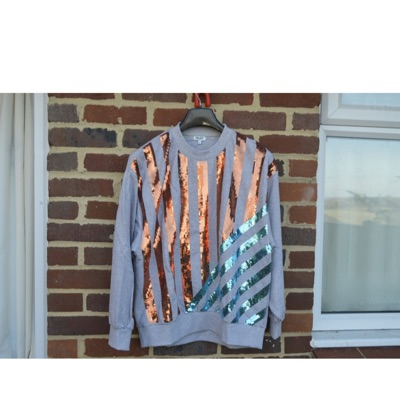 Kenzo Grey Striped Sequin Embellished Sweatshirt