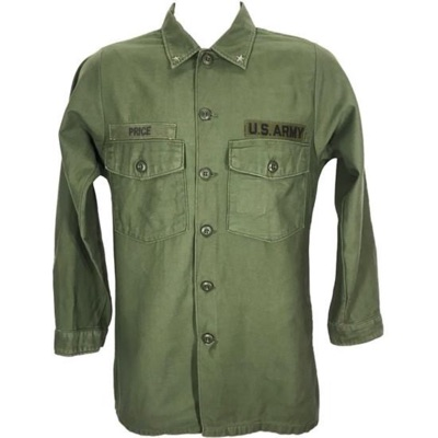 Usaf 60'S Usa Army Green Olive Military Shirt