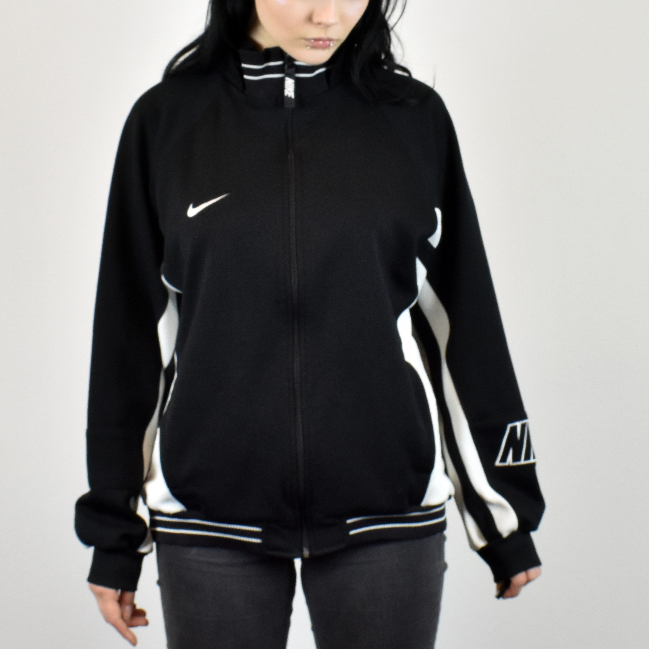f6dd97feb32d Unisex Vintage Nike tracksuit track jacket in black and white size L