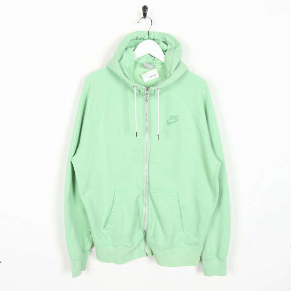 Vintage NIKE Small Logo Zip Up Hoodie Sweatshirt Mint Green | Large L