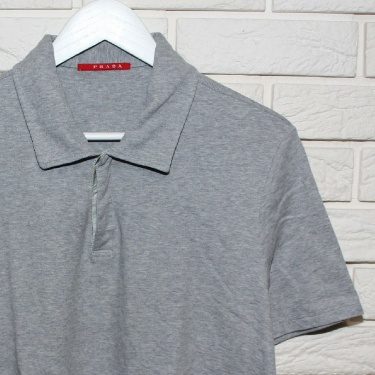 Prada Mens Gray Short Sleeve Polo T-Shirt Size M L