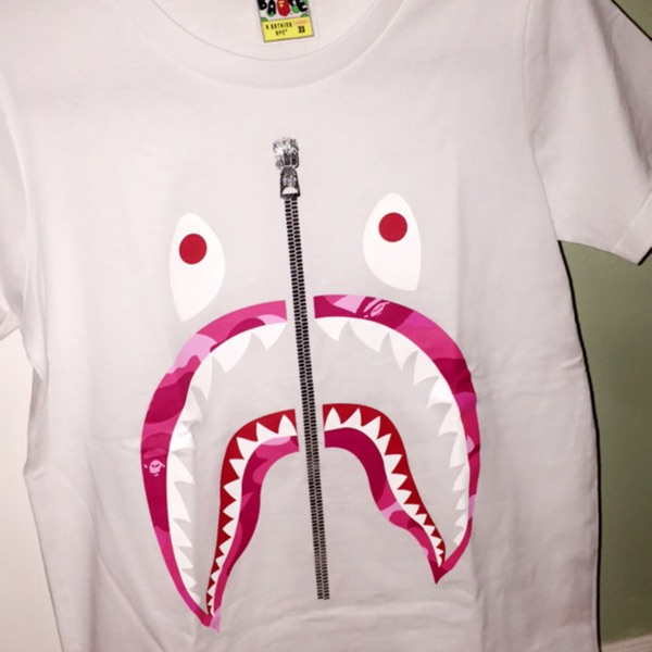 Bape x Pusha T College Logo Tee White