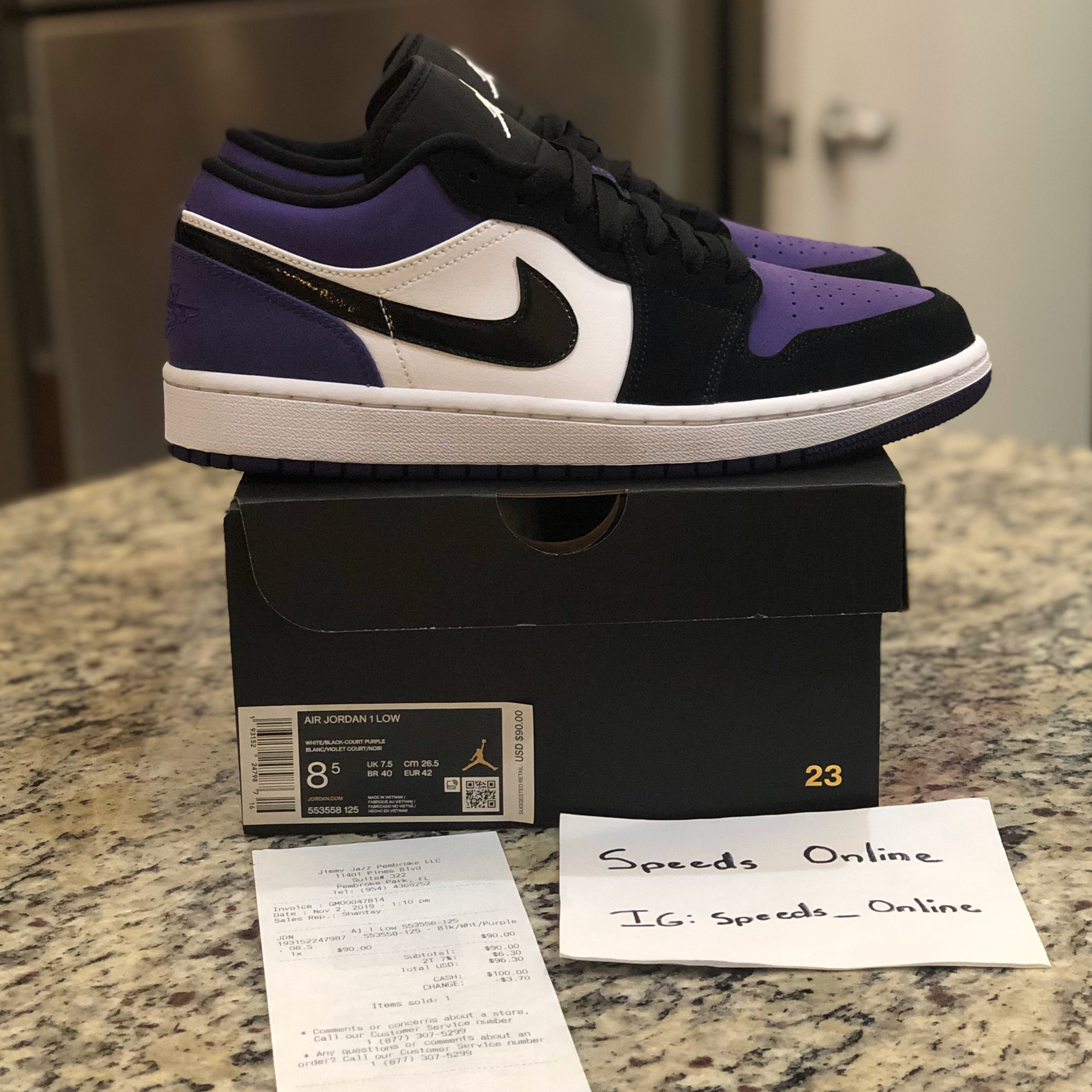 Jordan 1 Low Black Court Purple Turbo Green (GS)