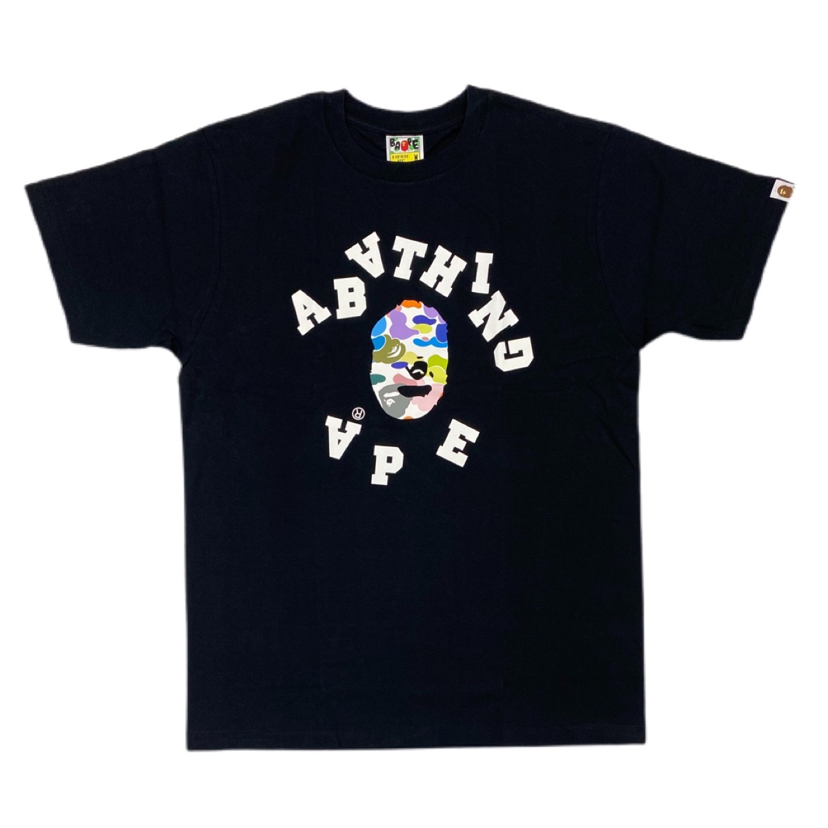 Authentic Bape multi camo black broken college logo tee brand new