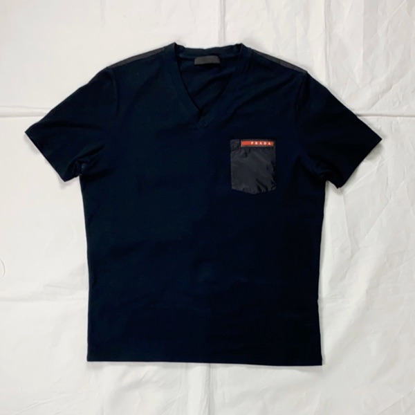 Prada Navy V-Neck Tee With Nylon Pocket