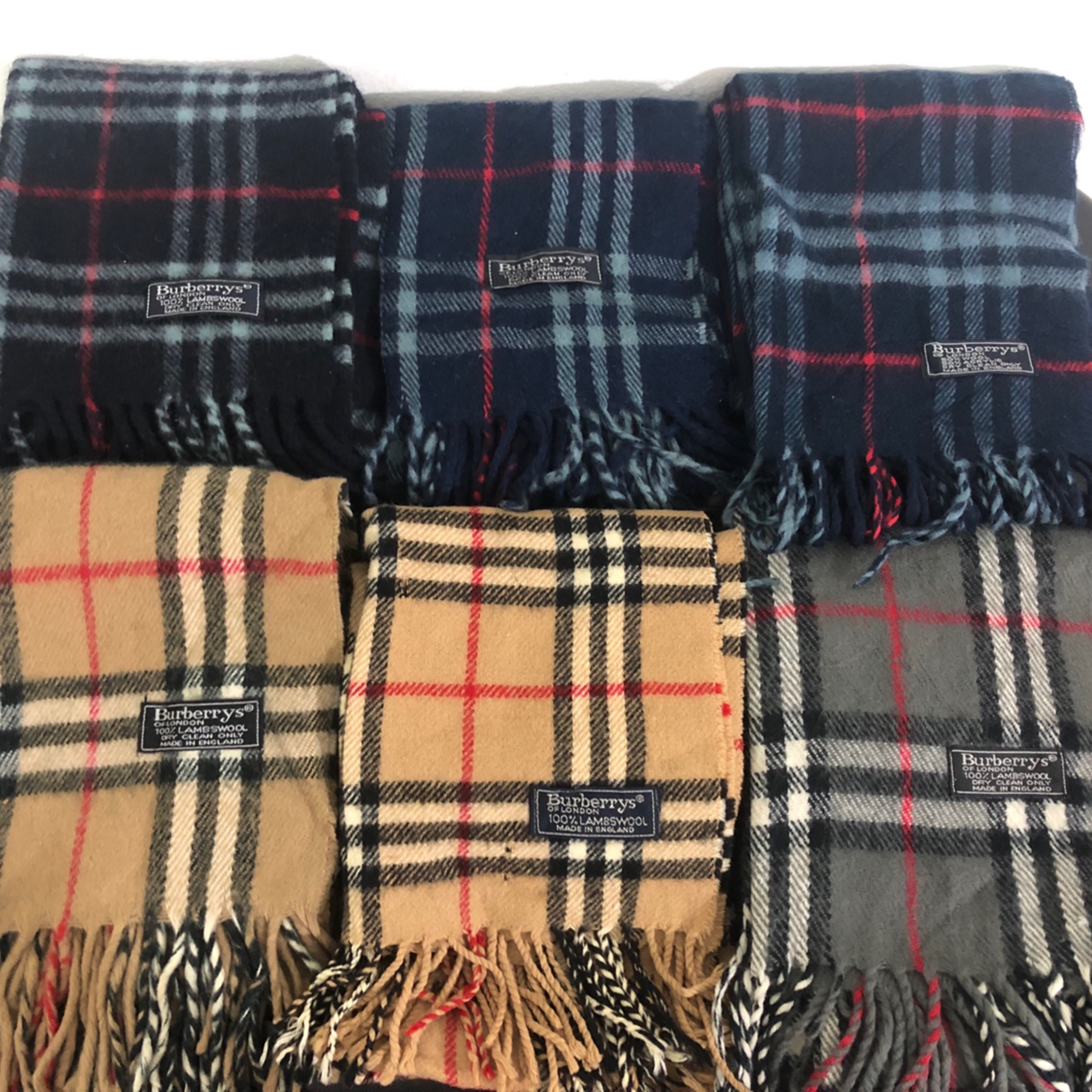 A Lot Of Burberrys Mufflers Made In England