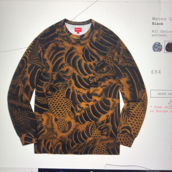 Supreme Waves Longsleeve Top Black