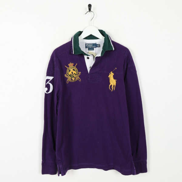 Vintage RALPH LAUREN Big Logo Long Sleeve Rugby Shirt Top Purple | Medium M