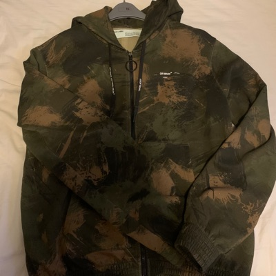 Off White Paint Camo Hoodie