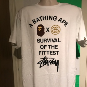 2009 A Bathing Ape x Stussy Survival Of The Fittest Tee Bape size XL