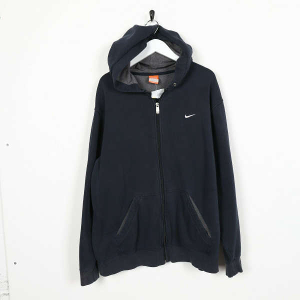 Vintage NIKE Small Logo Zip Up Hoodie Sweatshirt Navy Blue | Large L
