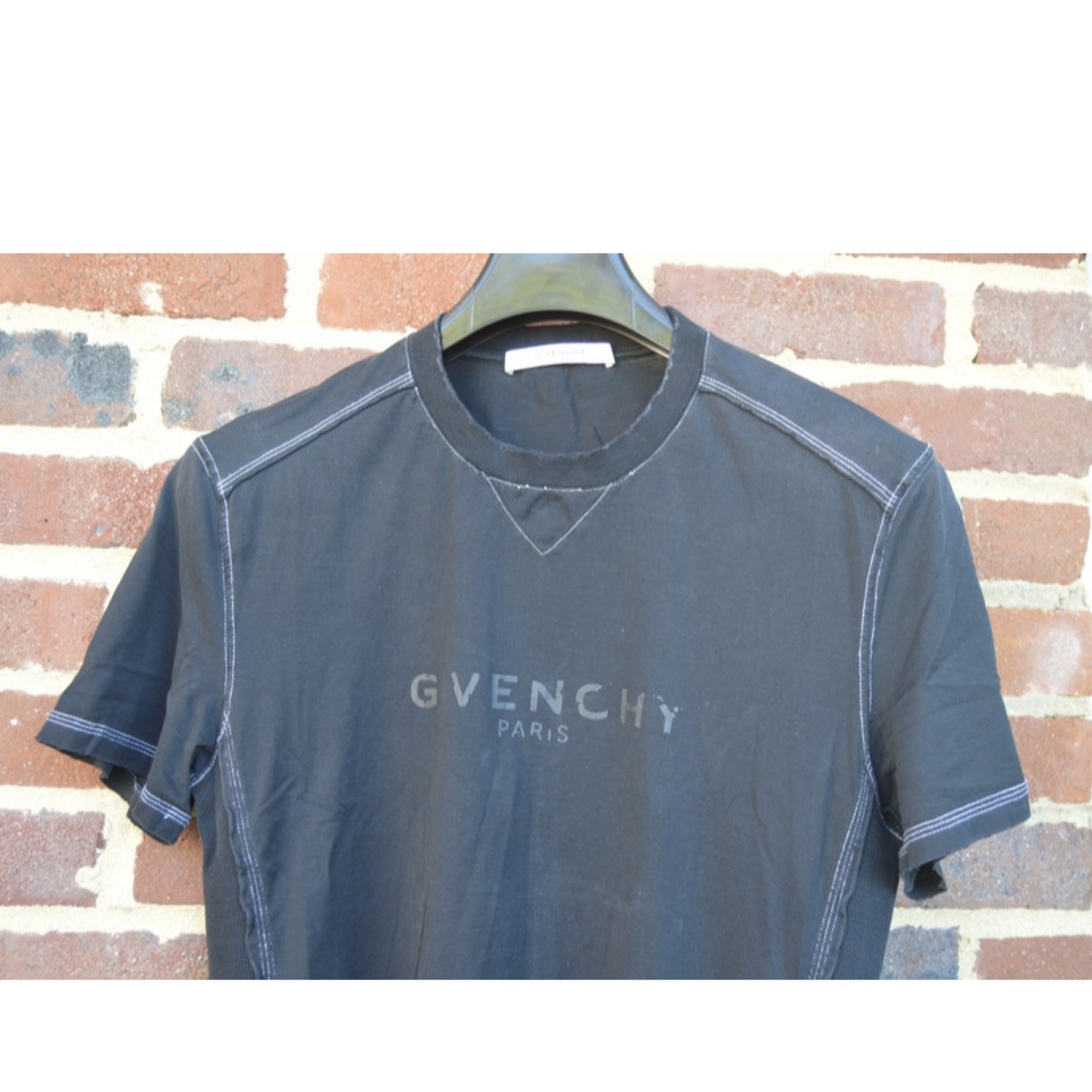 Givenchy Black Ribbed Blurred Logo T-Shirt