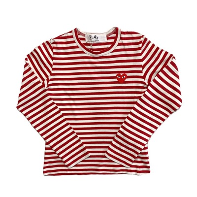 Red Striped Comme Des Garcons Long Sleeve T Shirt