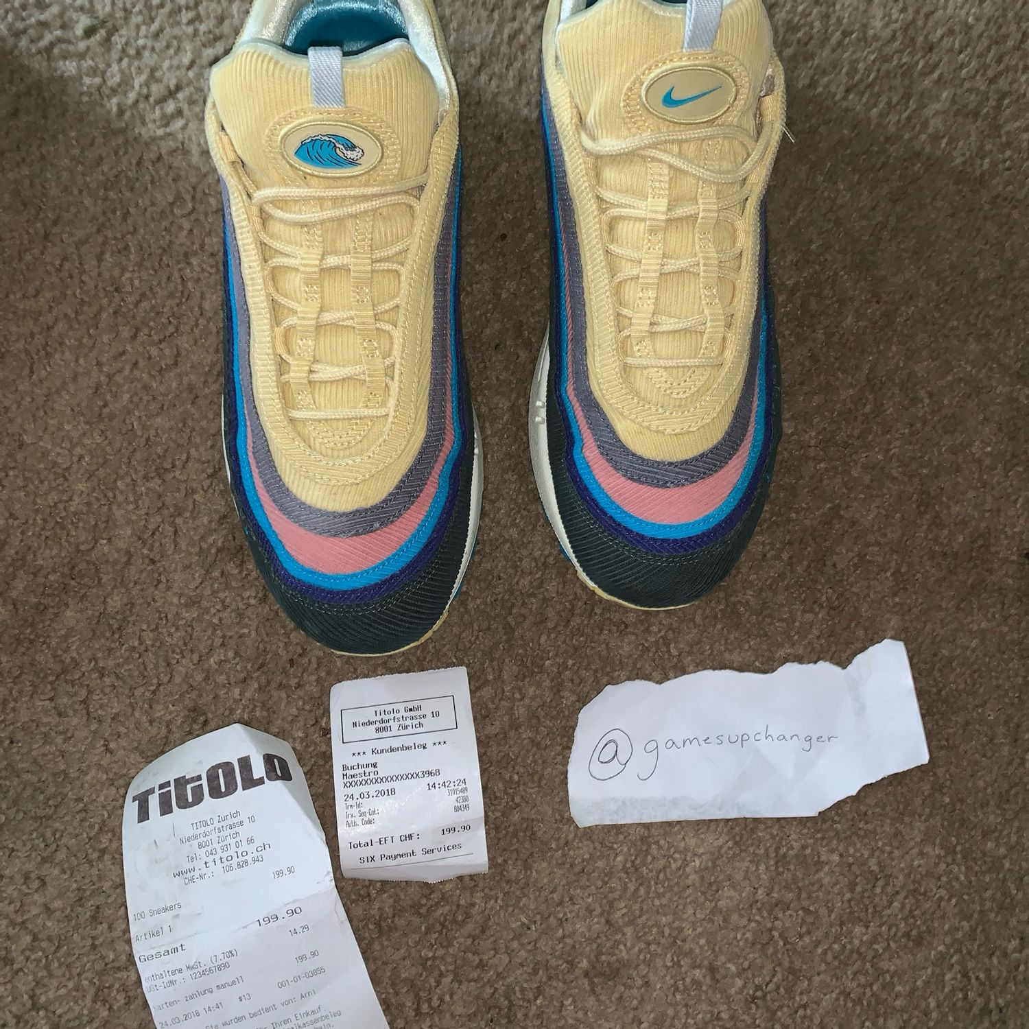 """cilindro blanco simbólico  Nike Air Max 1/97 """"Sean Wotherspoon"""" Size 10.5"""