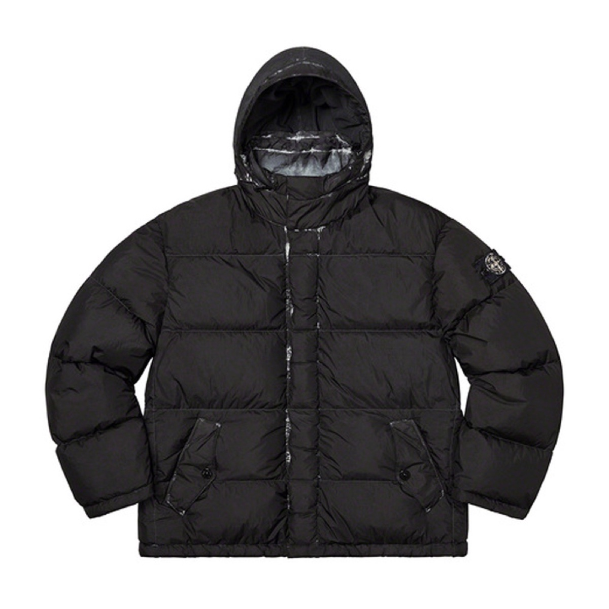 Supreme Stone Island Painted Camo Crinkle Down Jacket Black