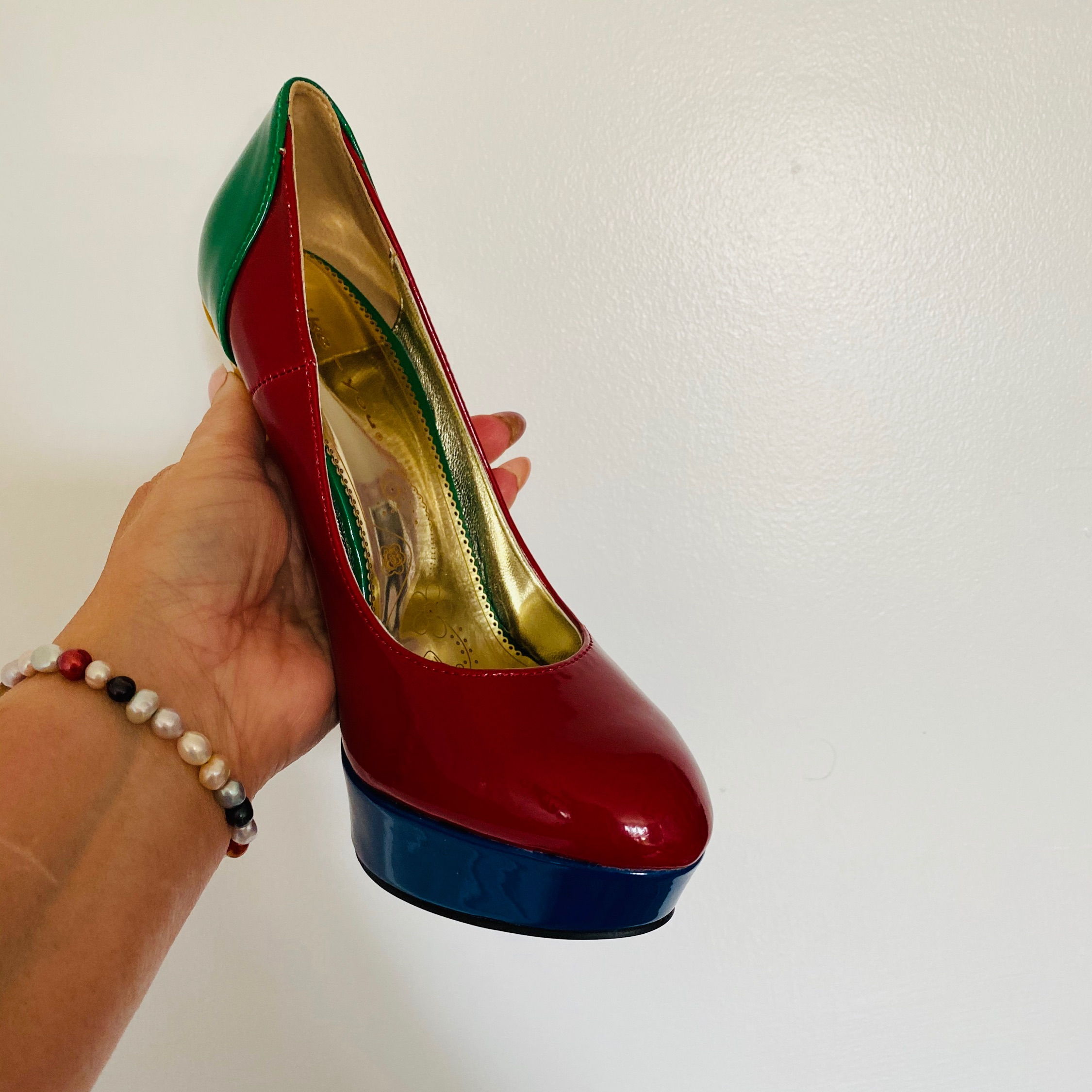 Women's Multicoloured Platform Heels Shoes Size 4