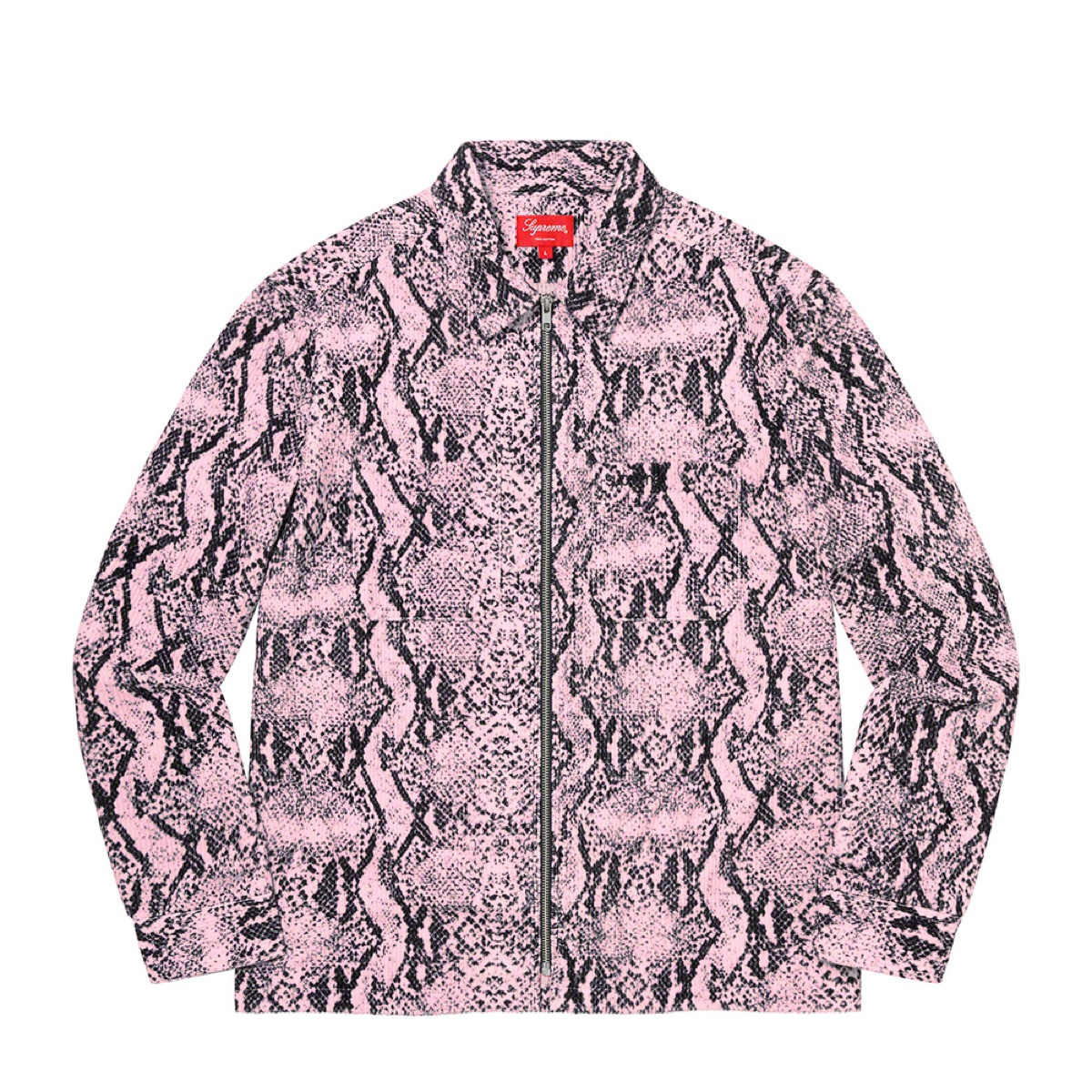 Supreme Snakeskin Corduroy Zip Up Shirt Pink