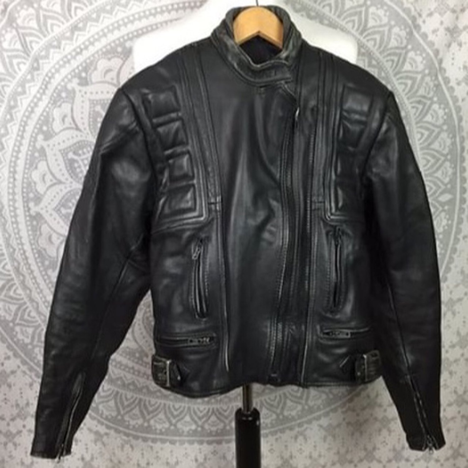 Vintage Belstaff Leather Motorcycle Jacket Black