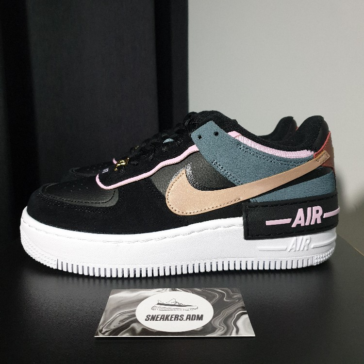 Nike Air Force 1 Shadow Black Light Arctic Pink W Shadow pieces for a unique play on a classic. nike air force 1 shadow black light arctic pink w