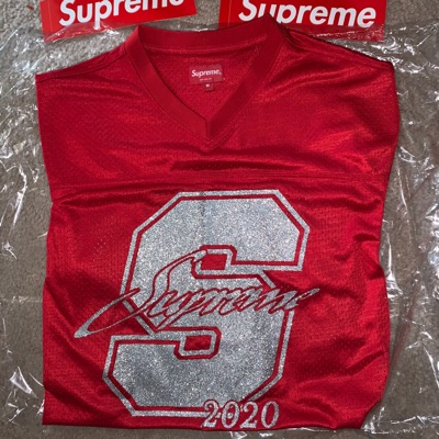 Red Supreme Glitter Football Jersey Top