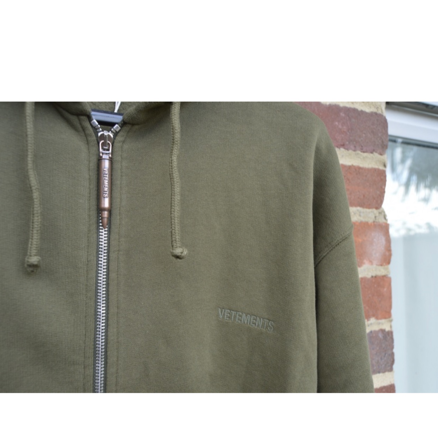 Olive Bullet Zip Hoodie With Elbow Cut Outs