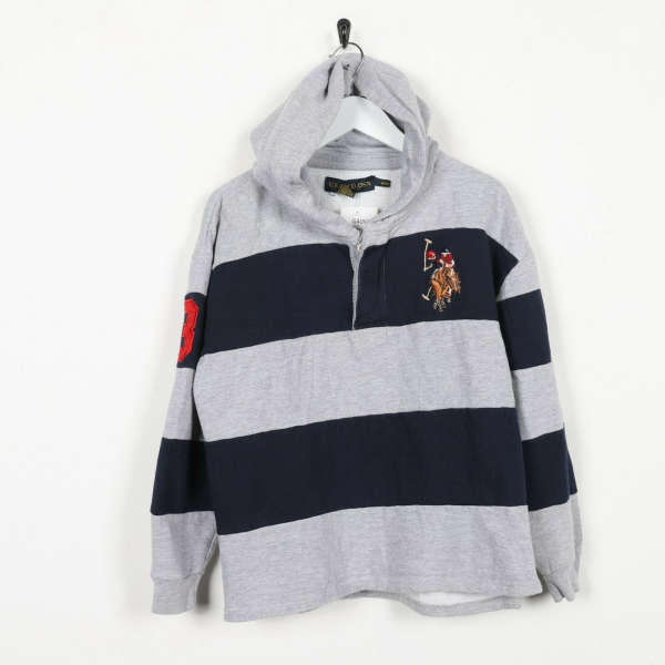 Vintage Women's USA POLO ASSN Button Neck Hoodie Sweatshirt Youth XL Small s