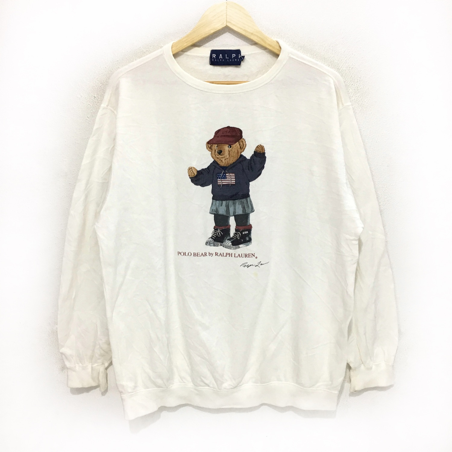 Vtg Polo Bear Ralph Lauren White Crew Sweatshirt