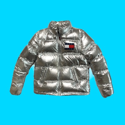 Silver Tommy Hilfiger Jeans Metallic Puffer Jacket
