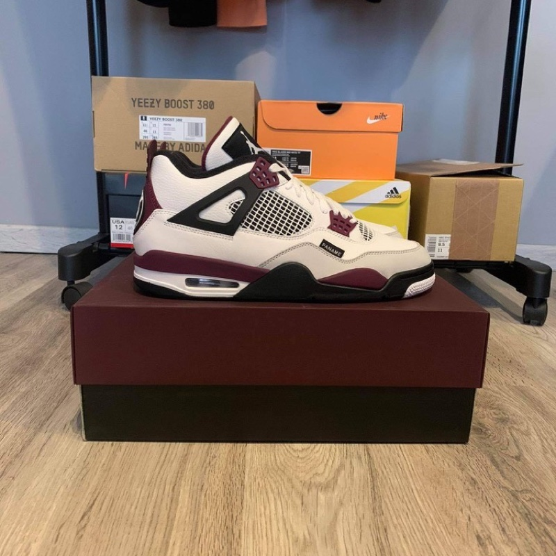 PSG x Jordan 4 White Neutral Grey Bordeaux