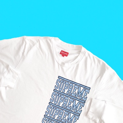 White Supreme Stacked Long Sleeve T Shirt