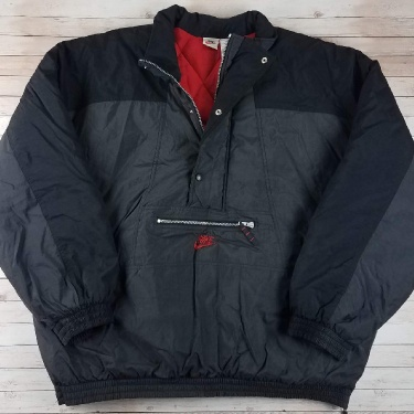 Vintage 1990s / 2000s Nike White Tag Charcoal Gray With Red Interior Half-Zip Pullover Jacket