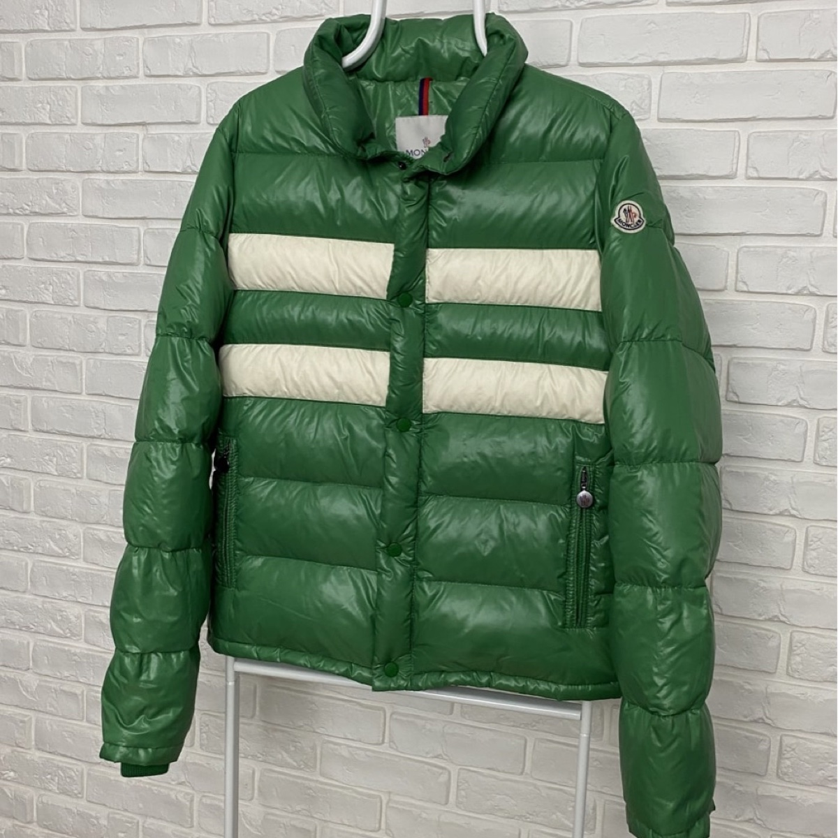 Authentic Men's Moncler Down Jacket Puffer Giubbotto Green White Size 3