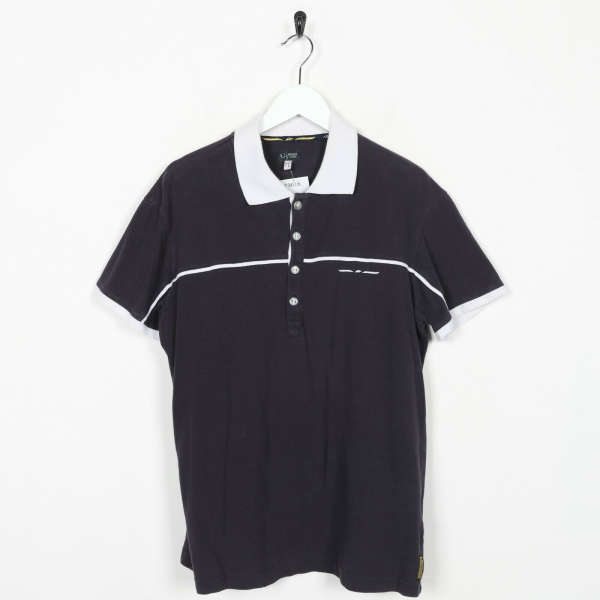 Vintage 90s ARMANI JEANS Small Logo Polo Shirt Top Navy Blue | XL