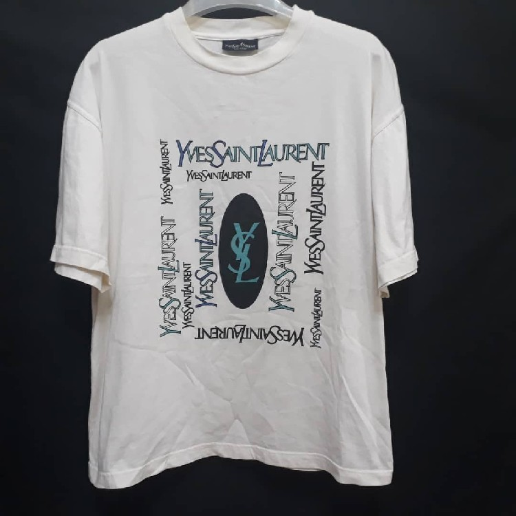 c72988c4e33f9 YVES SAINT LAURENT T-Shirt Spellout Big Logo Ysl Tee Authentic Made in Italy