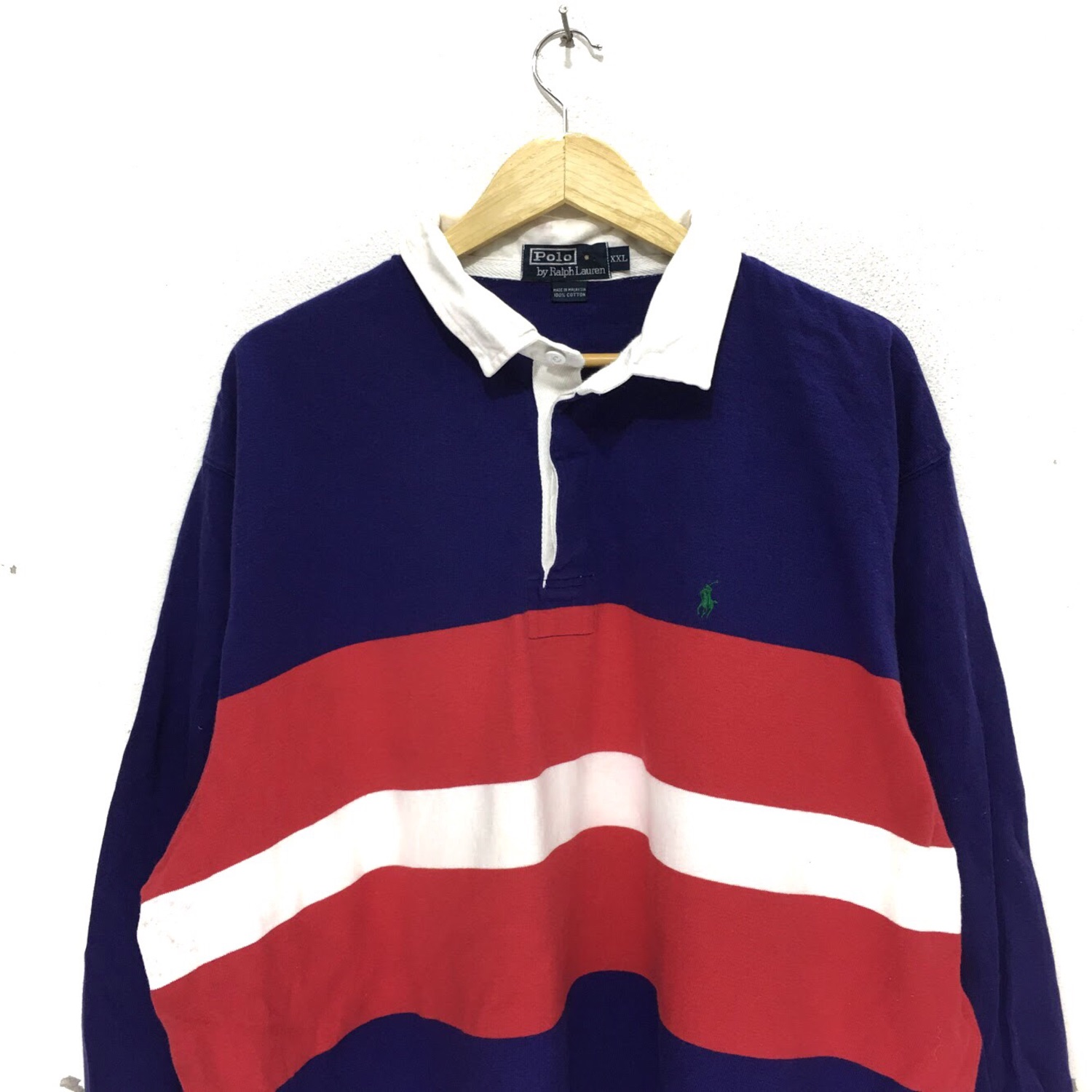 918a5b842 Vtg Polo Ralph Lauren Pony Striped Rugby Tee Shirt
