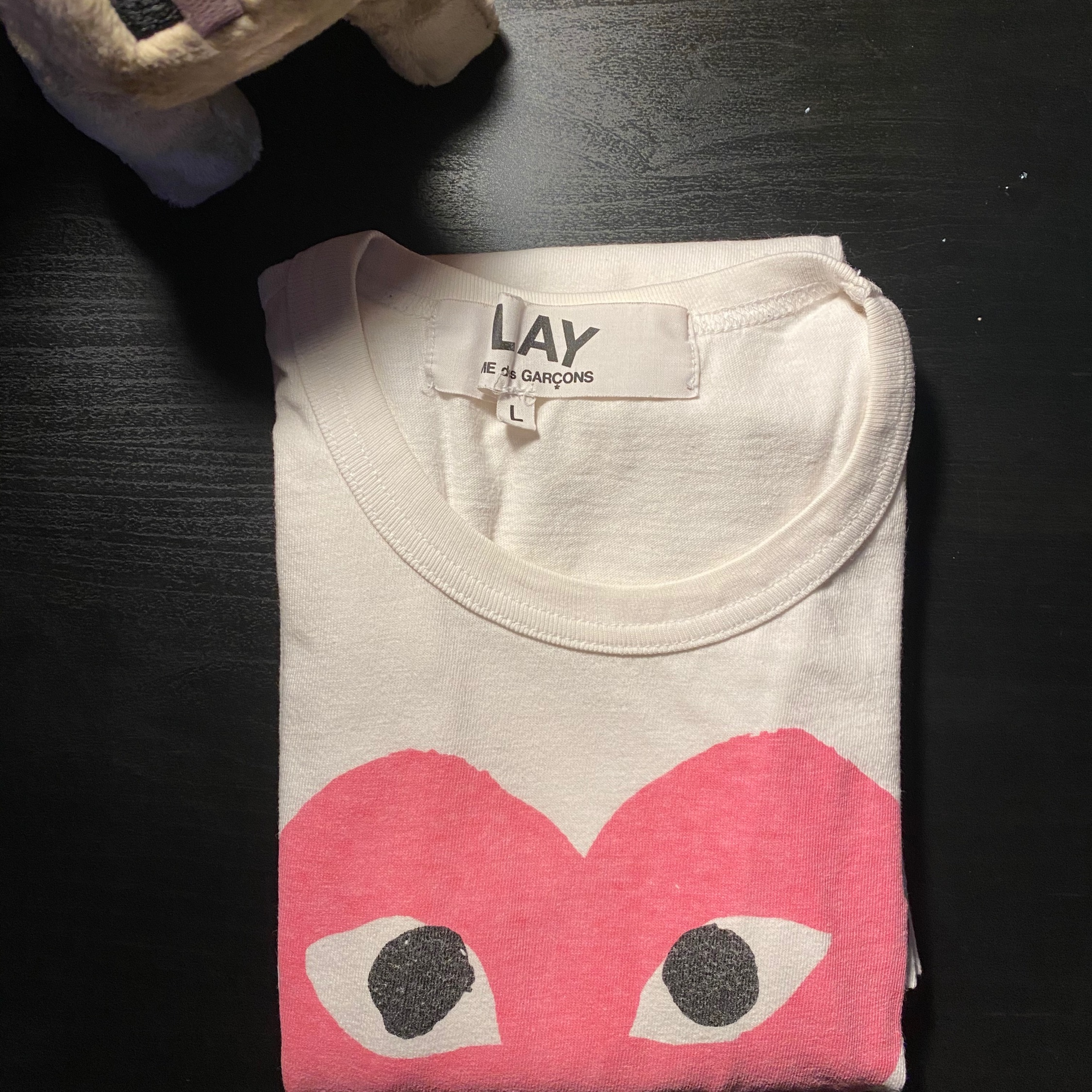 Comme Des Garcons Play Red Heart Pink Heart Tee