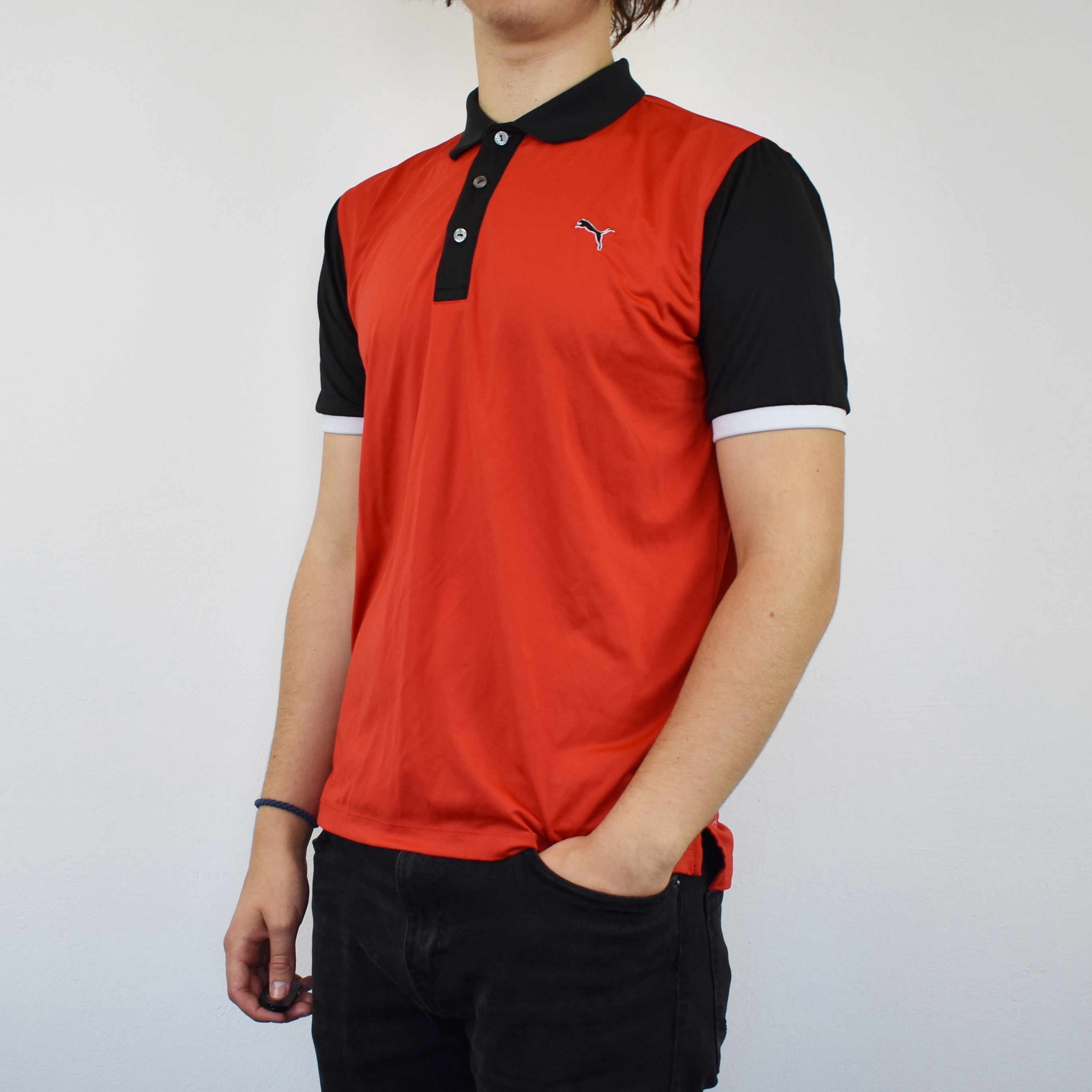 Unisex Vintage puma polo shirt top blouse tee in red and black.